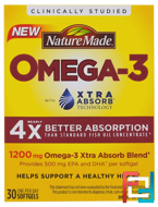Omega-3, Extra Absorb, Nature Made, 1200 mg , 30 Softgels