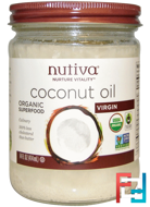 Organic Superfood, Coconut Oil, Virgin, Nutiva, 14 fl oz (414 ml)