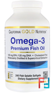 Omega-3, Premium Fish Oil, California Gold Nutrition, 240 Fish Gelatin Softgels