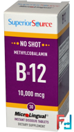 Methylcobalamin B-12, 10,000 mcg, Superior Source, 30 MicroLingual Instant Dissolve Tablets