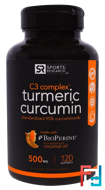 Turmeric Curcumin, C3 Complex, 500 mg, Sports Research, 120 Softgels