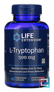 L-Tryptophan, Life Extension, 500 mg, 90 Veggie Caps