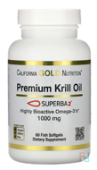 Antarctic Krill Oil, with Astaxanthin, RIMFROST, Natural Strawberry & Lemon Flavor, California Gold Nutrition, CGN, 500 mg, 120 Fish Gelatin Softgels