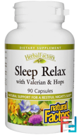 Sleep Relax, with Valerian & Hops, Natural Factors, 90 Capsules
